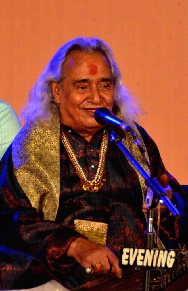 Padma Bhushan Pandit Channulal Mishra performs during a programme in Varanasi on March 30, 2017.