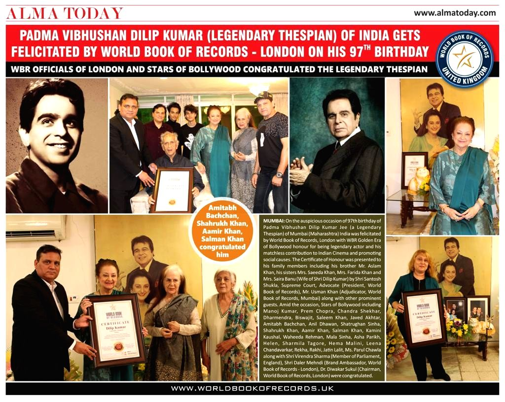 Padma Vibhushan Dilip Kumar being felicitated by World Book of records, London with WBR Golden Era of Bollywood honour for being legendary actor and his matchless contribution to Indian Cinema and ...