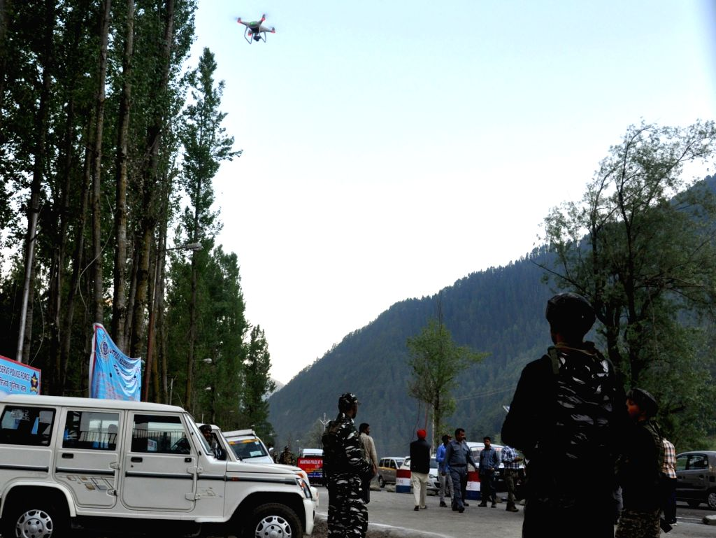 Pahalgam: Drones being used to review security arrangements of Amarnath Yatris at the Nunwan Base Camp in Anantnag District, Pahalgam, Jammu and Kashmir, on June 30, 2019. (Photo: IANS)