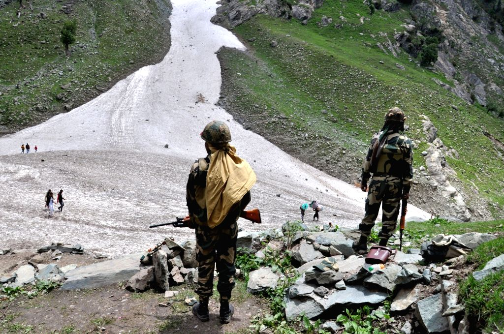 Pahalgam: Security beefed up ahead of this year's annual Amarnath Yatra that begins on July 1 and will end on August 15; at Pahalgam in Jammu and Kashmir's Anantnag on June 26, 2019. (Photo: IANS)