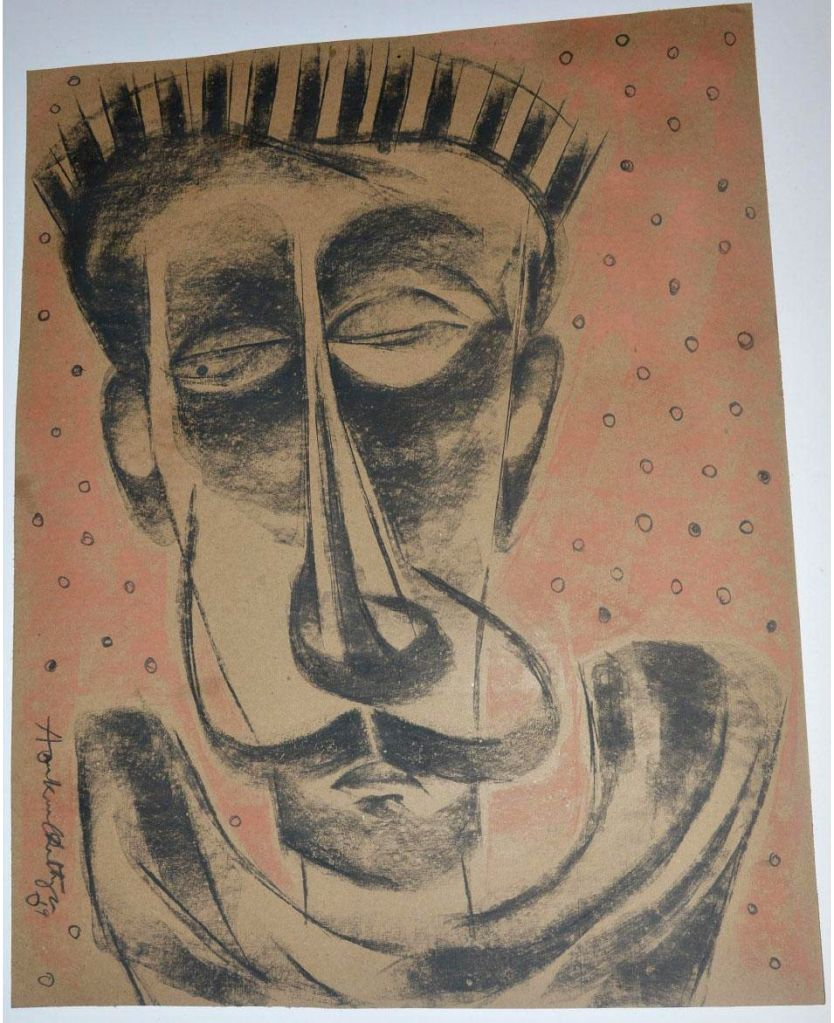 """Paintings of Charcoal artist Arunkumar Chatterjee on display at his exhibition """"Journey of Life"""" opened for the public at the India International Centre (IIC) in New Delhi on Wednesday. (Photo Source: IIC) - Arunkumar Chatterjee"""