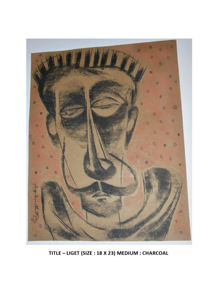 "Paintings of Charcoal artist Arunkumar Chatterjee on display at his exhibition ""Journey of Life"" opened for the public at the India International Centre (IIC) in New Delhi on Wednesday. (Photo Source: IIC) - Arunkumar Chatterjee"