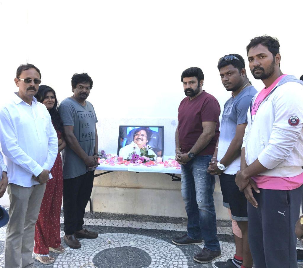 Paisa Vasool team pays tribute to Dasari Narayana Rao at Portugal. Actor Nandamuri Balakrishna, Director Puri Jagannath's Paisa Vasool team pays tribute to Dasari Narayana Rao. - Nandamuri Balakrishna and Dasari Narayana Rao
