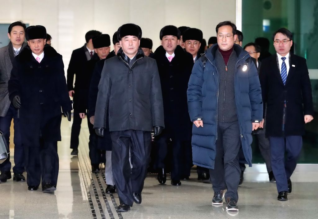 PAJU, Feb. 5, 2018 - Members of an advance group of the Democratic People's Republic of Korea (DPRK) performance squad, who will perform at the PyeongChang 2018 Winter Olympic Games, arrive in Paju, ...