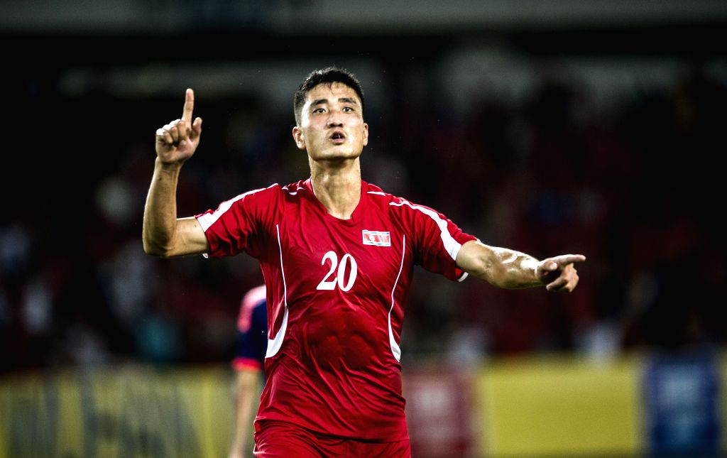 Pak Hyon Il of the Democratic People's Republic of Korea (DPRK) celebrates after scoring during the match against Japan at the 2015 EAFF(East Asian Football ...