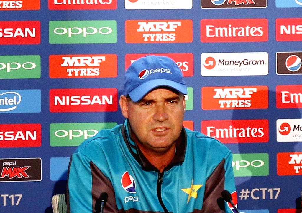 Pakistan coach Mickey Arthur addresses a press conference at the Oval in London on June 17, 2017.