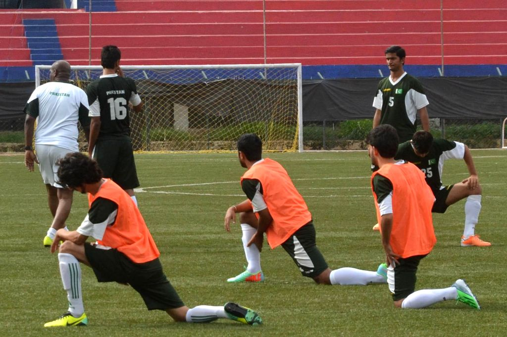 Pakistan Football Team seen at the Practice Session for their Match against India, at Bangalore Football Stadium, in Bangalore on Aug 16, 2014.