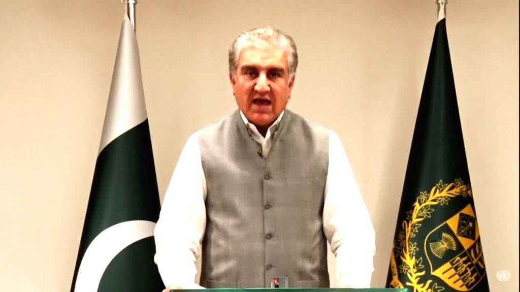 Pakistan Foreign Minister Shah Mehmood Qureshi gives his pre-recorded addresses to United Nations 75th Anniversary Commemoration session on Monday, September 21, 2020. (Photo: UN/IANS) - Shah Mehmood Qureshi