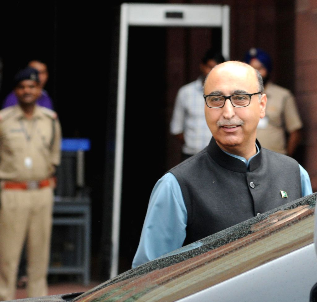 Pakistan High Commissioner Abdul Basit leaves Ministry of External Affairs, South Block in New Delhi, on Aug 16, 2015.
