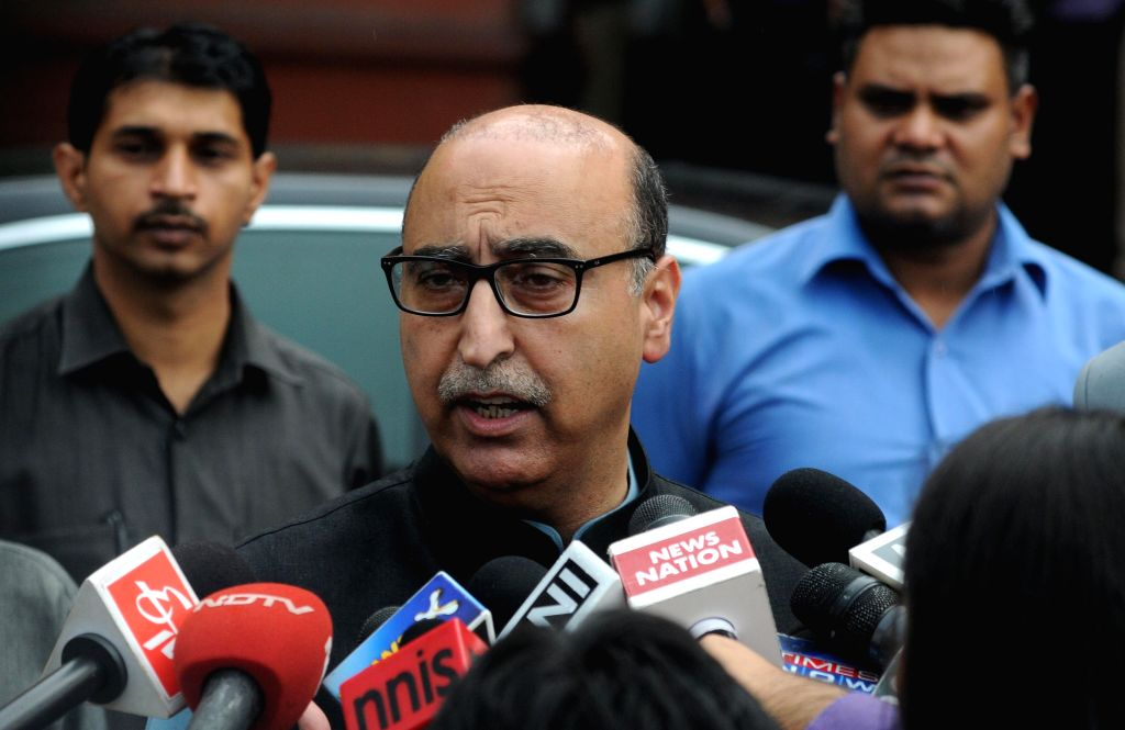 Pakistan High Commissioner Abdul Basit talks to press as he leaves Ministry of External Affairs, South Block in New Delhi, on Aug 16, 2015.
