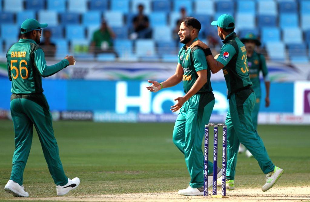 Pakistan's Faheem Ashraf celebrates fall of Anshuman Rath's wicket during the second match (Group A) of Asia Cup 2018 between Hong Kong and Pakistan at Dubai International Cricket Stadium on ...