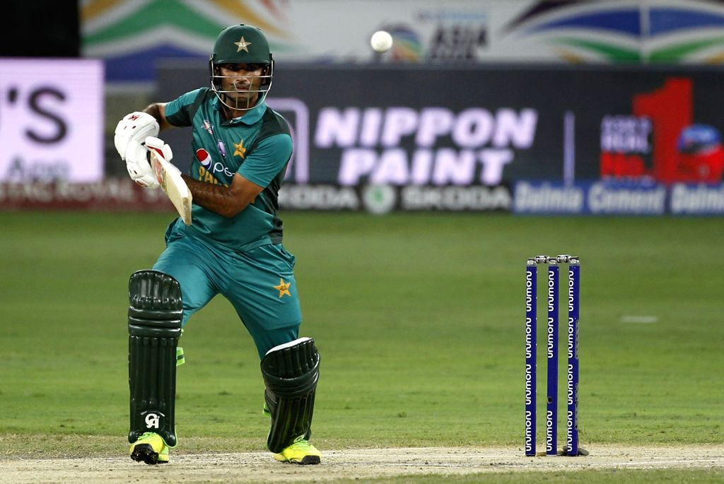 Pakistan's Fakhar Zaman in action during the second match (Group A) of Asia Cup 2018 between Hong Kong and Pakistan at Dubai International Cricket Stadium on Sept 16, 2018.