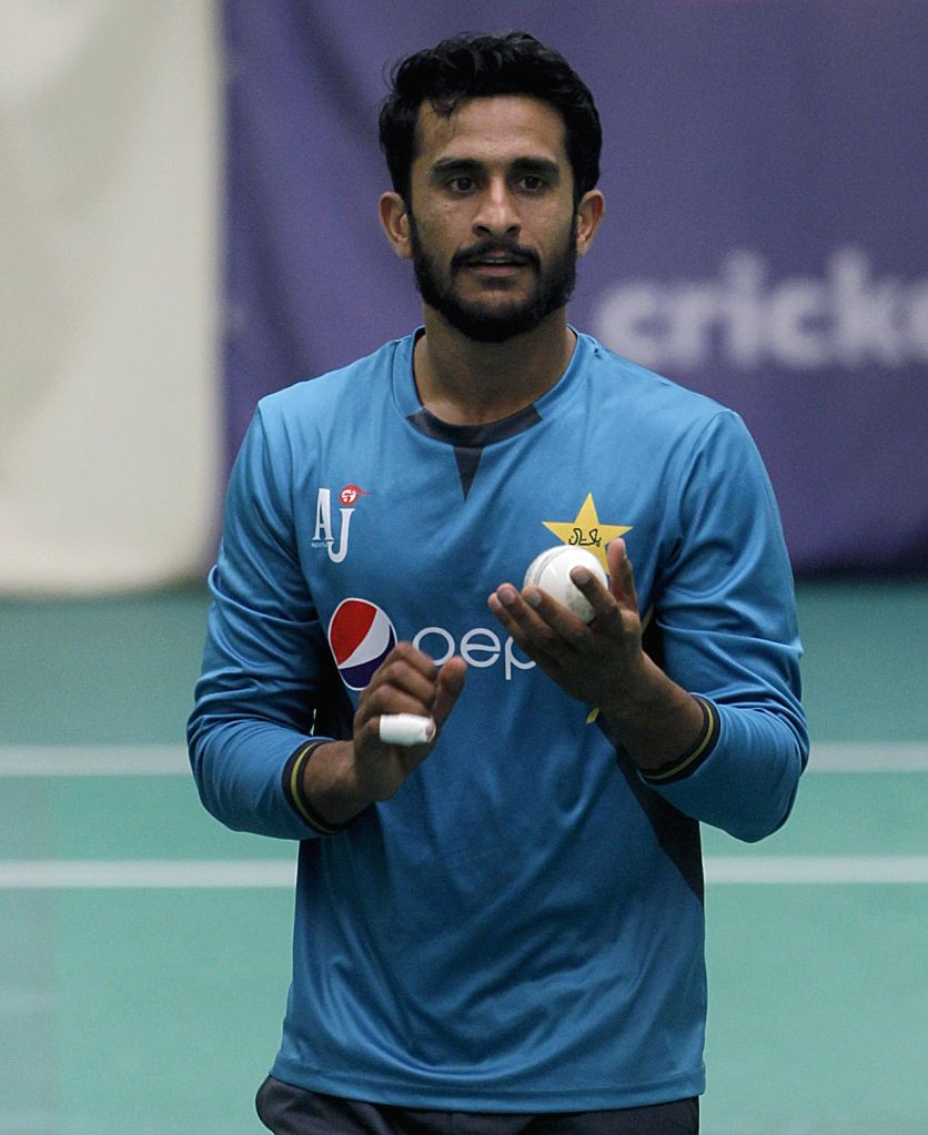 Pakistan's Hasan Ali  during practice session at Old Trafford ahead of World Cup 2019 match against India in Manchester, England on June 15, 2019.