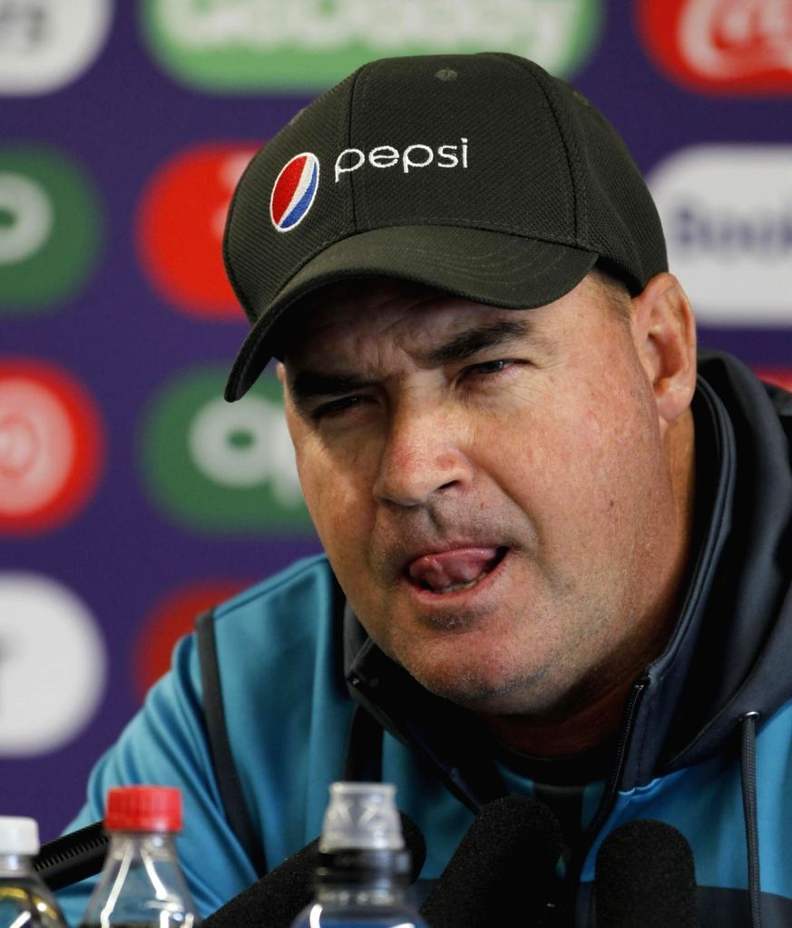 Pakistan's head coach Mickey Arthur addresses a press conference ahead of the World Cup 2019 match against India in Manchester, England on June 15, 2019.