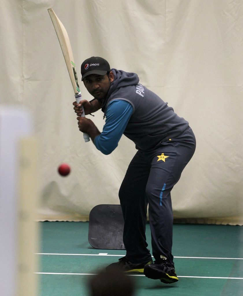 Pakistan's Sarfaraz Ahmed during practice session at Old Trafford ahead of World Cup 2019 match against India in Manchester, England on June 15, 2019.