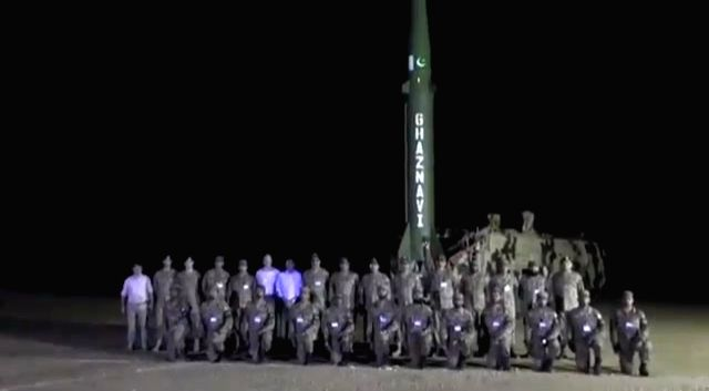 Pakistan successfully carried out night training launch of surface-to-surface ballistic missile Ghaznavi. (File Photo: Twitter/@OfficialDGISPR)
