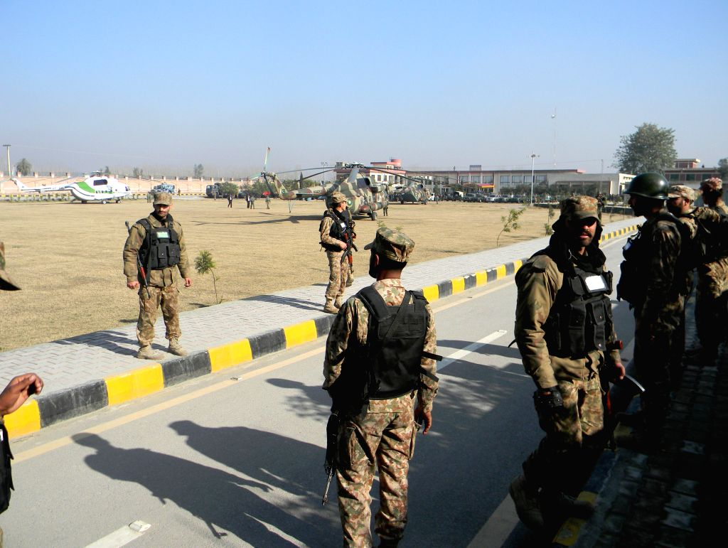 Pakistani army soldiers cordon off Bacha Khan University following an attack by gunmen in northwest Pakistan's Charsadda, Jan. 20, 2016. A splinter group of ... - Bacha Khan University