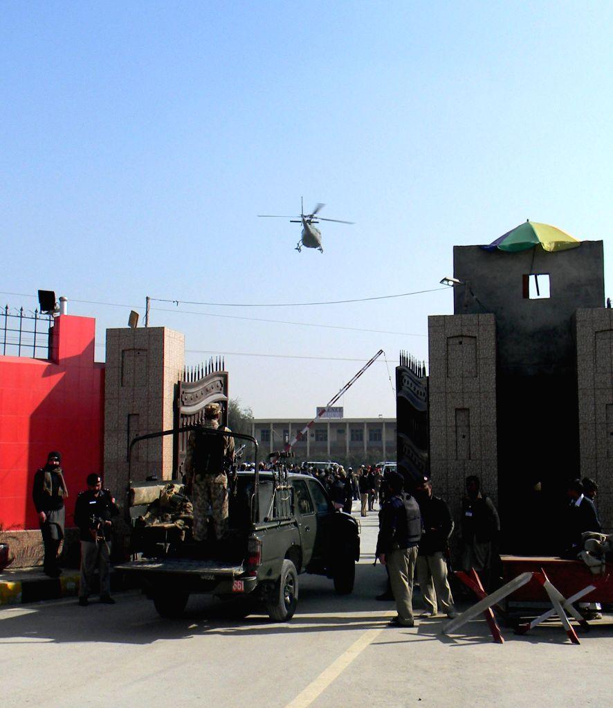 Pakistani army soldiers enter Bacha Khan University following an attack by gunmen in northwest Pakistan's Charsadda, Jan. 20, 2016. A splinter group of ... - Bacha Khan University