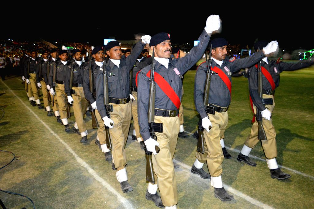Pakistani cadets march during a ceremony marking Pakistan's Independence Day in southwest Pakistan's Quetta, Aug. 13, 2015. Pakistan became independent on Aug. 14, ...