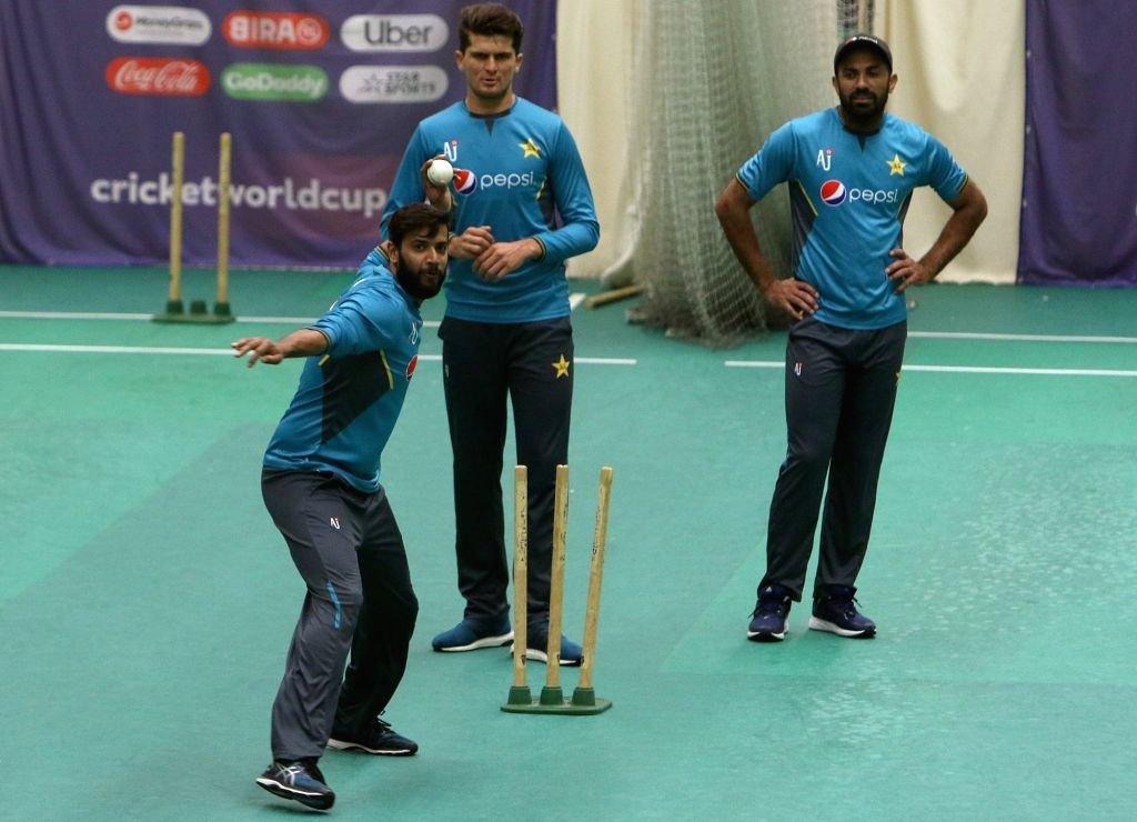 Pakistani cricketers during a practice session ahead of the World Cup 2019 match against Pakistan in Manchester, England on June 15, 2019.