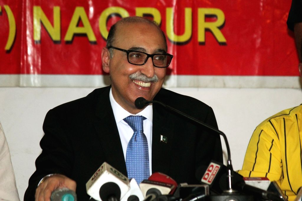 Pakistani High Commissioner Abdul Basit addresses a press conference in Nagpur on June 4, 2016.