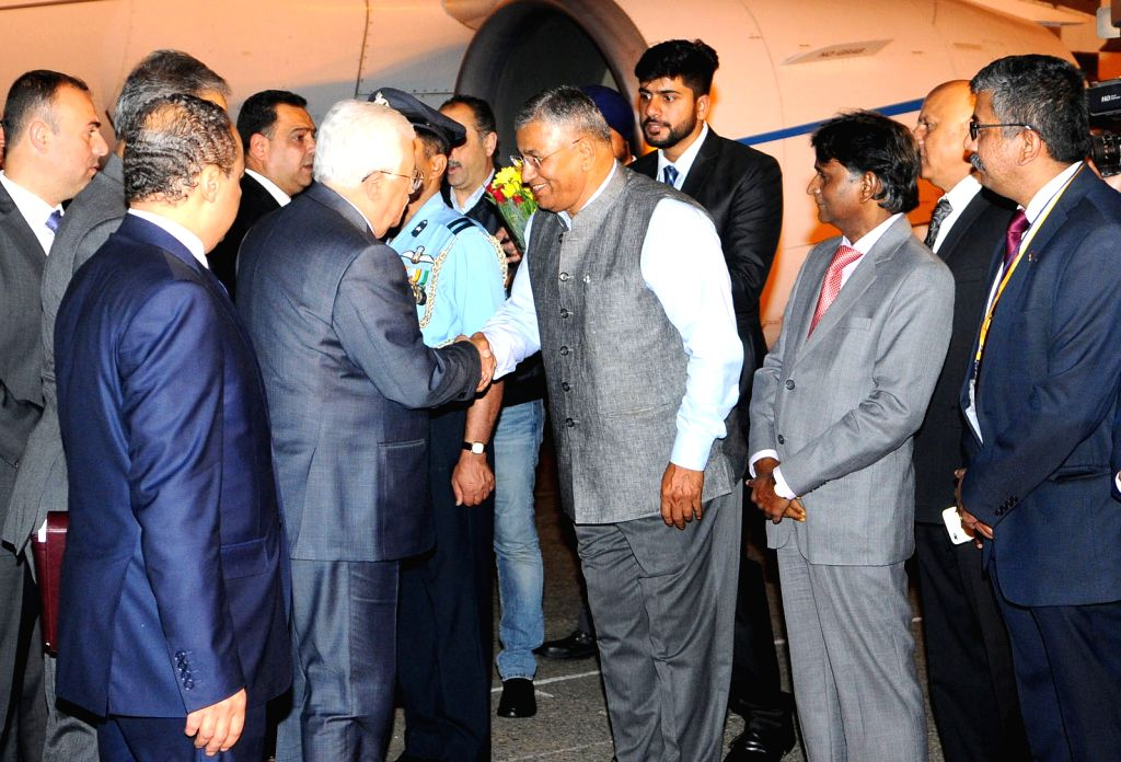 Palestine President Mahmoud Abbas being received by Union MoS for Electronics and Information Technology P.P. Chaudhary at Air Force Station Palam in New Delhi on May 14, 2017. - P. Chaudhary