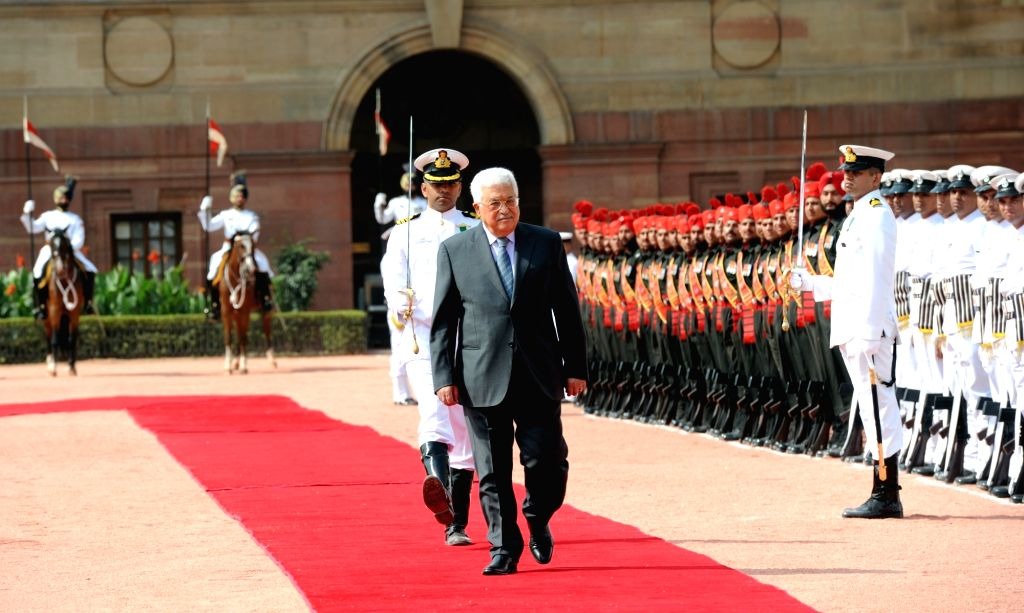 Palestine President Mahmoud Abbas inspects the Guard of Honour at the ceremonial reception at Rashtrapati Bhavan in New Delhi on May 16, 2017.