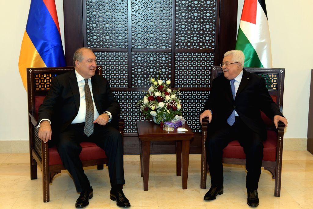 Palestinian President Mahmoud Abbas (R) meets with Armenian President Armen Sarkissian in the West Bank city of Bethlehem, on Jan. 24, 2020.