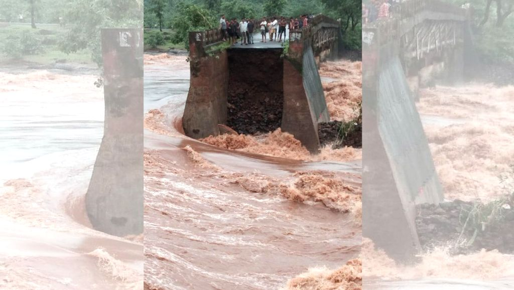 Palghar: A view of washed away portion of Pinjal River bridge, in Palghar on Aug 4, 2019. (Photo: IANS)
