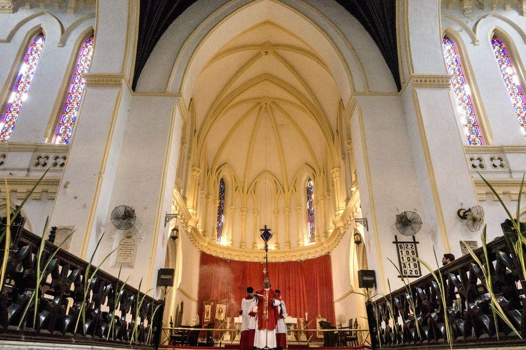 Palm Sunday mass underway at a Kolkata church on April 9, 2017.