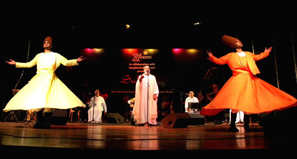 Amer Refaat Touny Mohamed along with his troup performs during the ``Sufi Sutra`` an International Festival of Sufi and Traditional Music at Kala Academy in Panaji on Feb. 2, 2015.
