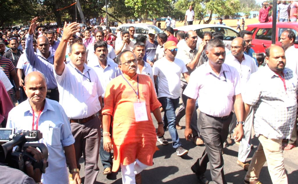: Panaji: Goa Chief Minister Laxmikant Parsekar walks out of the counting center after his defeat against Congress candidate Dayanand Raghunath Sopte during the Assembly Election in Panaji on March ...