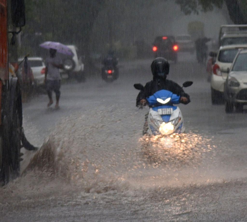 Panaji : Heavy rain hit Panaji city on Monday, IMD Goa has issued red alert to the State of Goa on Monday, 14 June 2021.