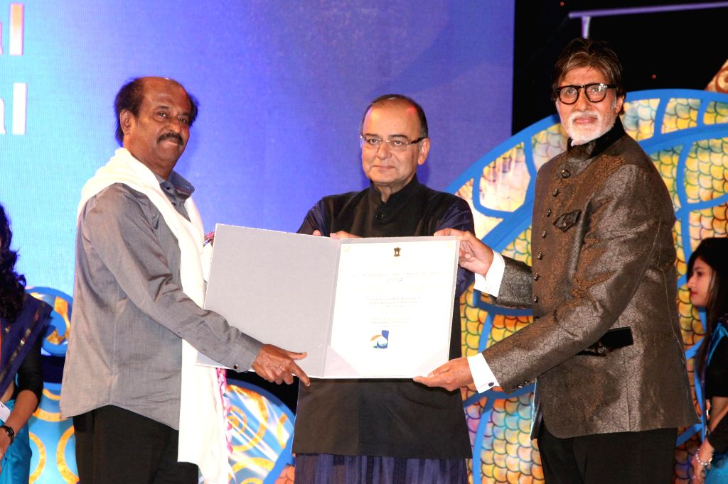 (L to R) Actor Rajnikant, Indian Finance Minister and Minister of Information and Broadcasting Arun Jaitley and actor Amitabh Bachchan at the inauguration of the 45th International Film ... - Rajnikant, Arun Jaitley and Amitabh Bachchan