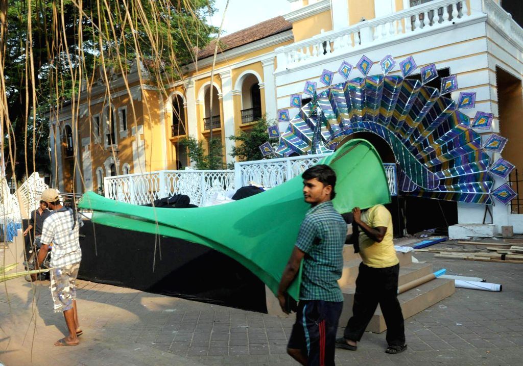 Preparations for the 45th International Film Festival of India (IFFI-2014) underway in Panaji, Goa on Nov 18, 2014.
