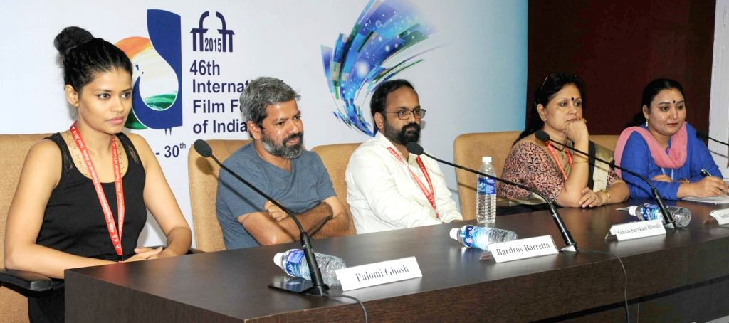 Panaji: The Director of 'ONYO OPALAA' Satarupa Sanyal, the Director of 'NACHOM-IA KUMPASAR' Bardroy Barretto, the Director of 'KOTI', Suhaas Surykant Bhosale and actress Palomi Ghosh addresses a press conference, at the 46th International - Palomi Ghosh