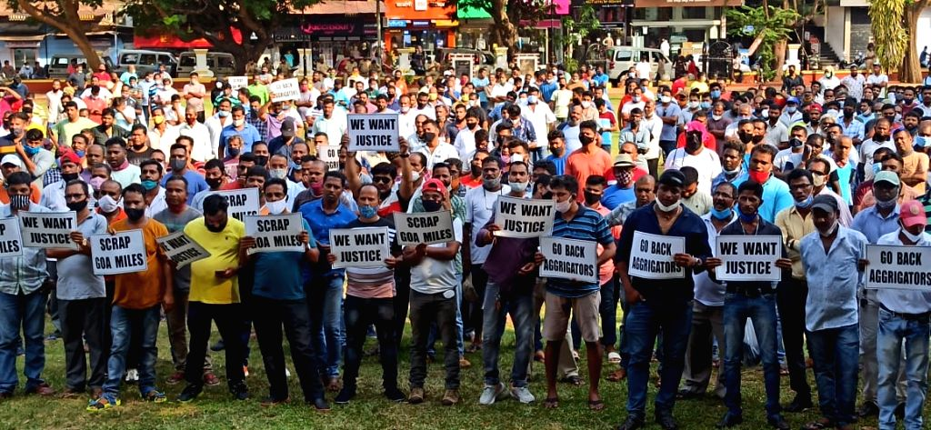 Panaji : Tourist Taxi operators staged protests to press for the their various pending demands at Azad Maidan