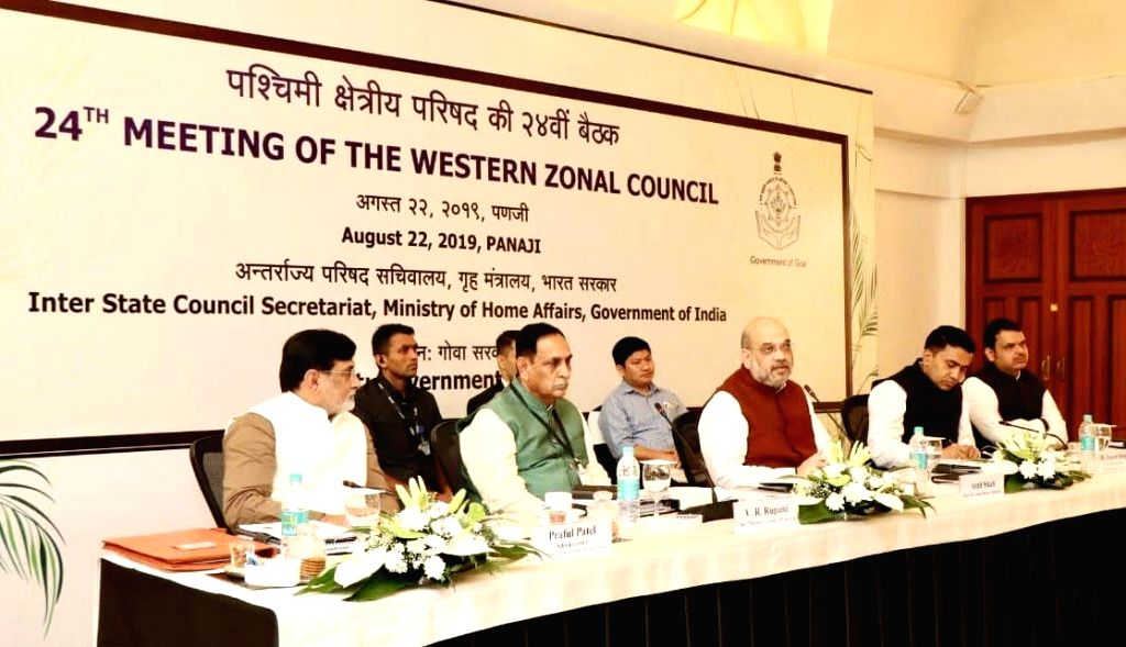 Panaji: Union Home Minister Amit Shah chairs the 24th meeting of Western Zonal Council in Panaji, Goa on Aug 22, 2019. Also seen Goa Chief Minister Pramod Sawant, Gujarat Chief Minister Vijay Rupani, Maharashtra Chief Minister Devendra Fadnavis and A - Amit Shah and Diu Praful Patel
