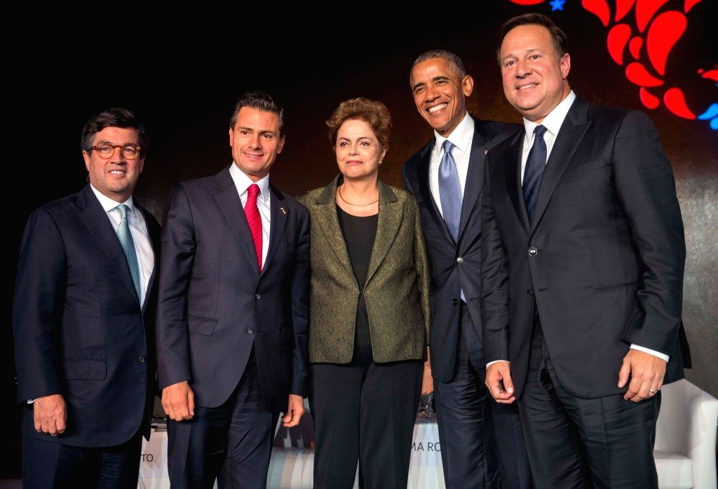 (From L to R) Image provided by Mexico's Presidency shows Luis Alberto Moreno, president of the Inter-American Development Bank, Mexican President Enrique Pena ...