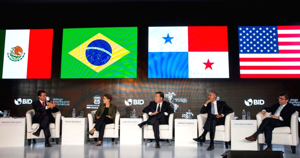 (From L to R) Image provided by Mexico's Presidency shows Mexican President Enrique Pena Nieto, Brazilian President Dilma Rousseff, Panamanian President Juan ...
