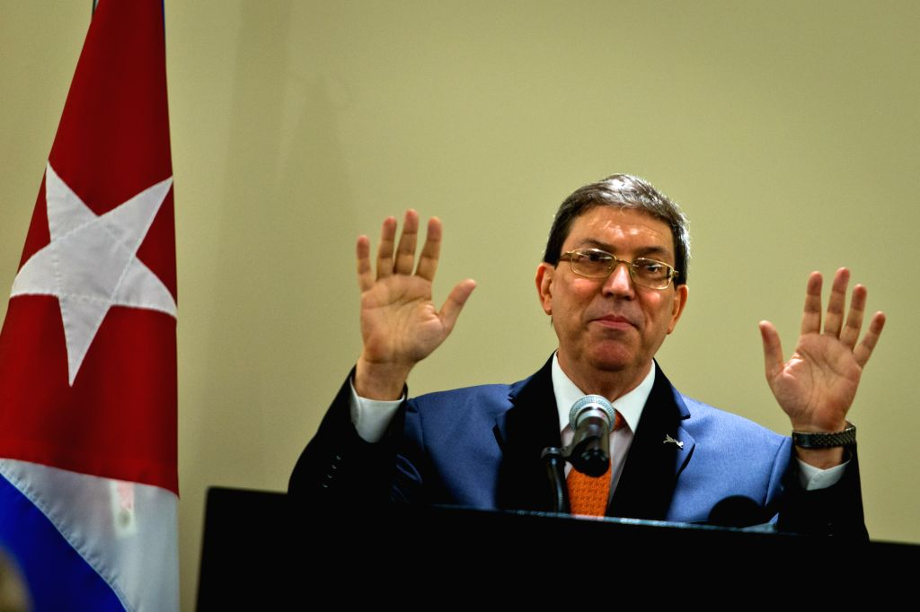 Cuban Foreign Minister Bruno Rodriguez speaks at a press conference in Panama City, capital of Panama, April 11, 2015. Cuban and U.S. presidents held the first ... - Bruno Rodriguez