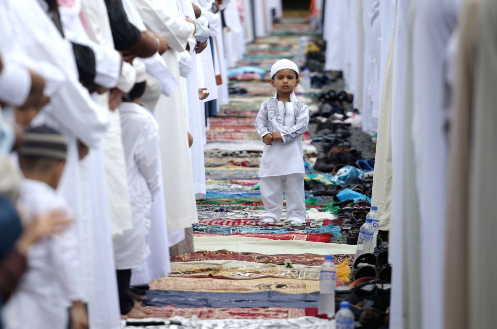 PANAMA CITY, July 6, 2016 - Muslims in Panama gather for the prayer of Eid al-Fitr, marking the end of the fasting month of Ramadan, in Panama City, capital of Panama, on July 6, ...