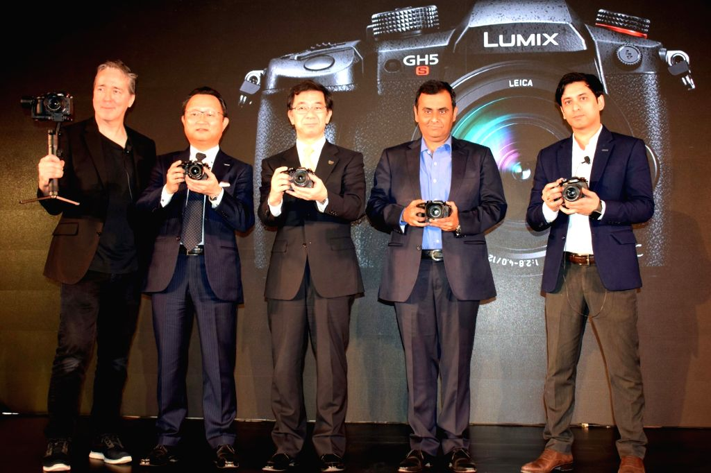 Panasonic Corporation Director - Imaging Business Yosuke Yamane (third from left) and other officials during the launch of LUMIX GH5Sworld's first high-precision cinema 4K recording ...