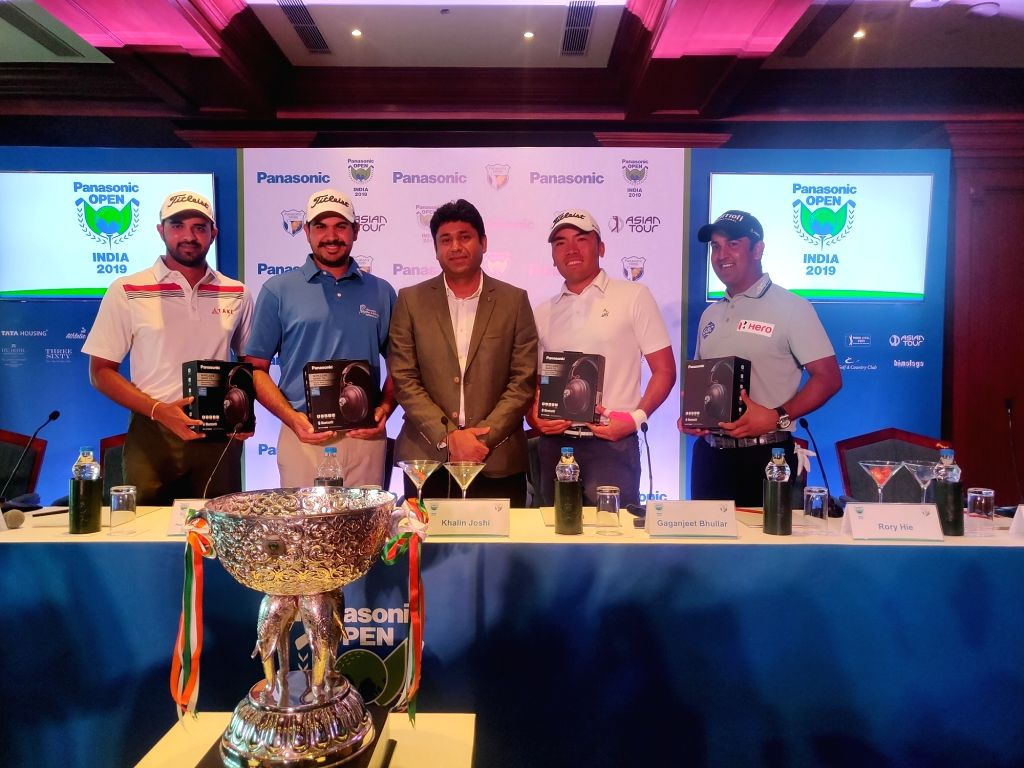 Panasonic India Head (Marketing Communication and Brand) Shirish Agarwal unveils the trophy ahead of Asian Tour that will be played from November 14-17 at the Classic Golf and Country Club.