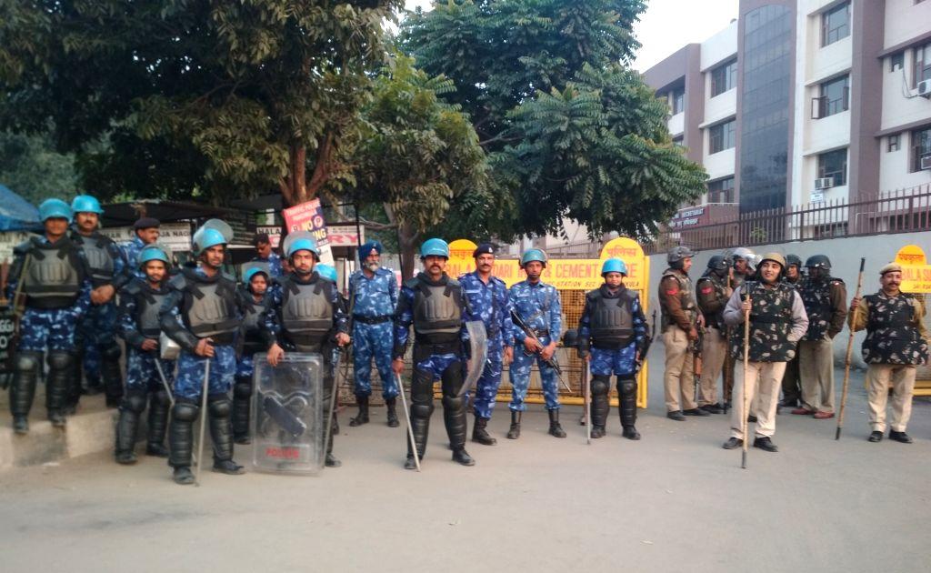 Panchkula: Security beefed up outside CBI court in Panchkula after Dera Sacha Sauda chief Gurmeet Ram Rahim was given life term in journalist murder case on Jan 17, 2019. (Photo: IANS)