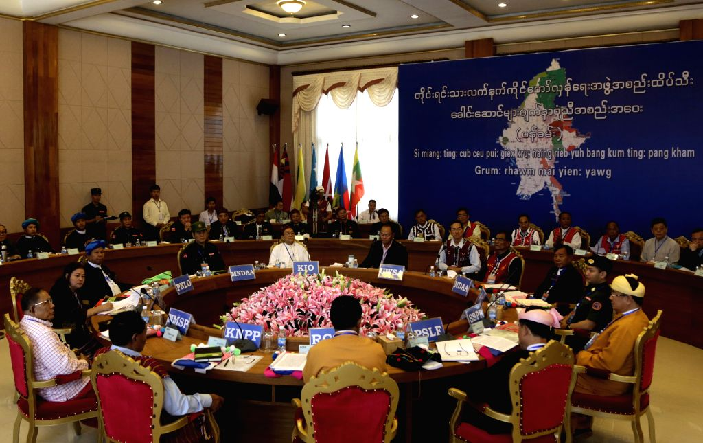 Photo taken on May 1, 2015 shows a scene of the Myanmar ethnic leaders' summit in Panghsang of northern Shan State, Myanmar. Myanmar ethnic leaders' summit kicked ...