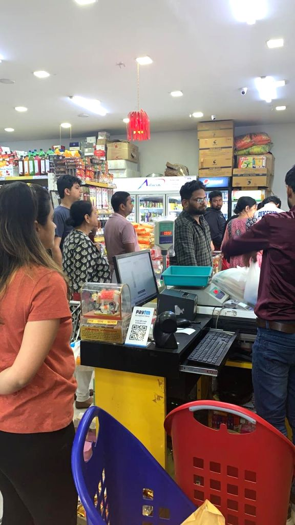 Panic buying photos from Noida Sector 143 AVR SuperMart.