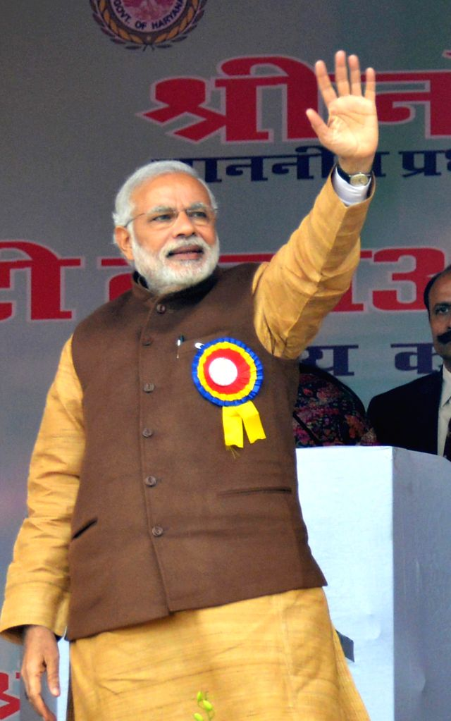 Prime Minister Narendra Modi  at the launch of `Beti Bachao-Beti Padhao` campaign in Panipat, Haryana on Jan 22, 2015. - Narendra Modi