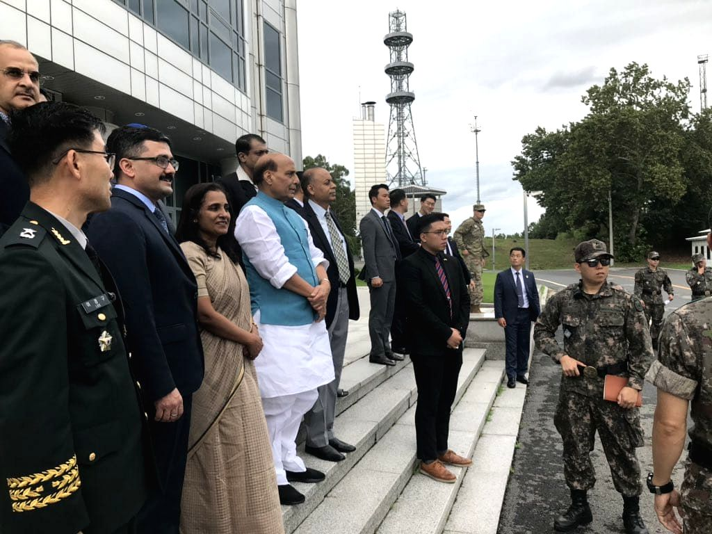 Panmunjom: Defence Minister Rajnath Singh during his visit to the Joint Security Area (JSA) near the International Boundary between South Korea and North Korea at Panmunjom in Kaesŏng, Republic of Korea on Sep 7, 2019. (Photo: IANS) - Rajnath Singh