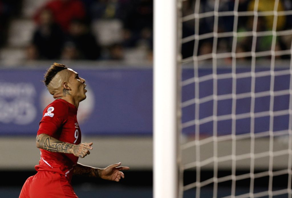 Paolo Guerrero of Peru celebrates after scoring during the quarterfinal match against Bolivia at 2015 Copa America Chile in Temuco, Chile, on June 25, 2015. Peru ...